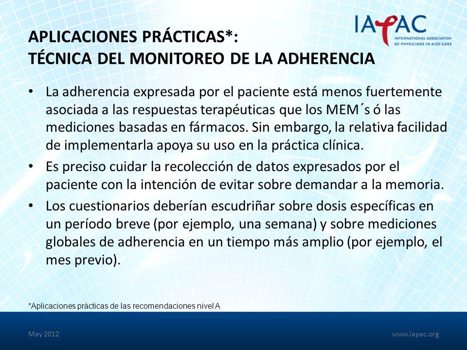 APLICACIONES PRÁCTICAS*: TÉCNICA DEL MONITOREO DE LA ADHERENCIA La adherencia expresada por el paciente está menos fuertemente asociada a las respuestas terapéuticas que los MEM´s ó las mediciones basadas en fármacos.