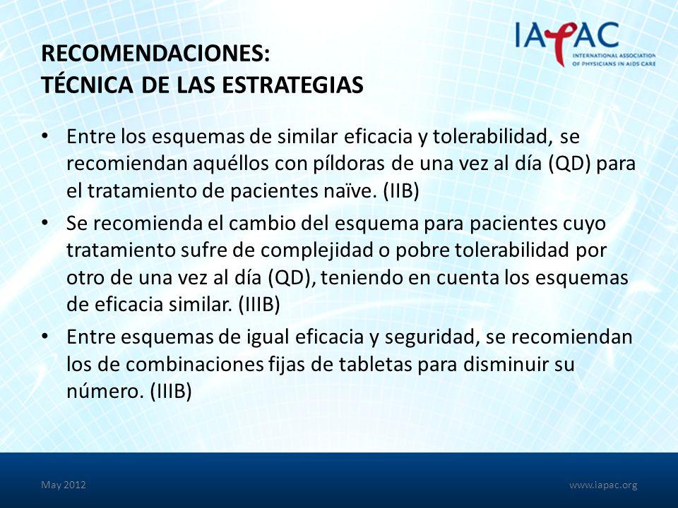 RECOMENDACIONES: TÉCNICA DE LAS ESTRATEGIAS Entre los esquemas de similar eficacia y tolerabilidad, se recomiendan aquéllos con píldoras de una vez al día (QD) para el tratamiento de pacientes naïve.