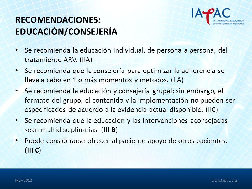 RECOMENDACIONES: EDUCACIÓN/CONSEJERÍA Se recomienda la educación individual, de persona a persona, del tratamiento ARV.