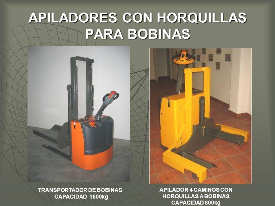 APILADORES CON HORQUILLAS PARA BOBINAS TRANSPORTADOR DE BOBINAS CAPACIDAD 1600kg APILADOR 4 CAMINOS CON HORQUILLAS A BOBINAS CAPACIDAD 800kg