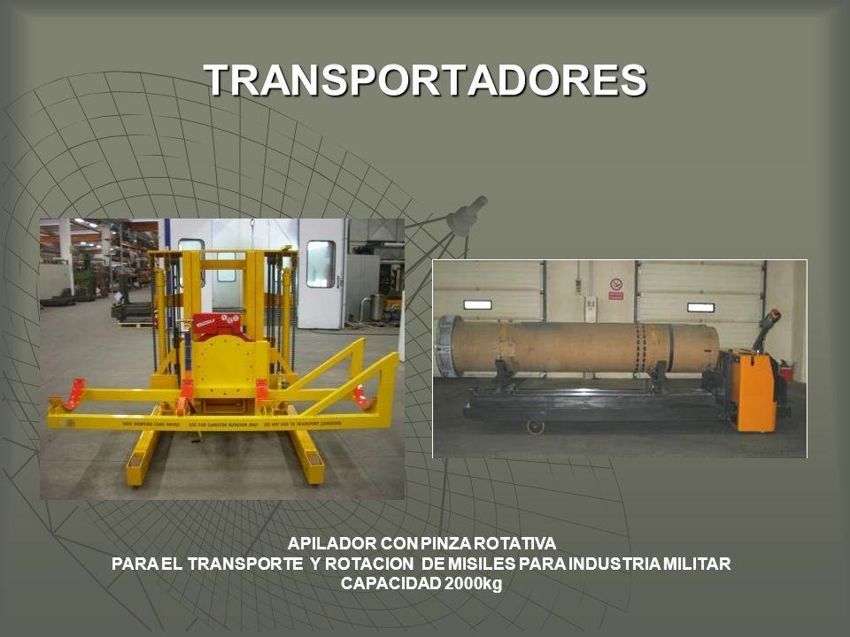 TRANSPORTADORES APILADOR CON PINZA ROTATIVA PARA EL TRANSPORTE Y ROTACION DE MISILES PARA INDUSTRIA MILITAR CAPACIDAD 2000kg