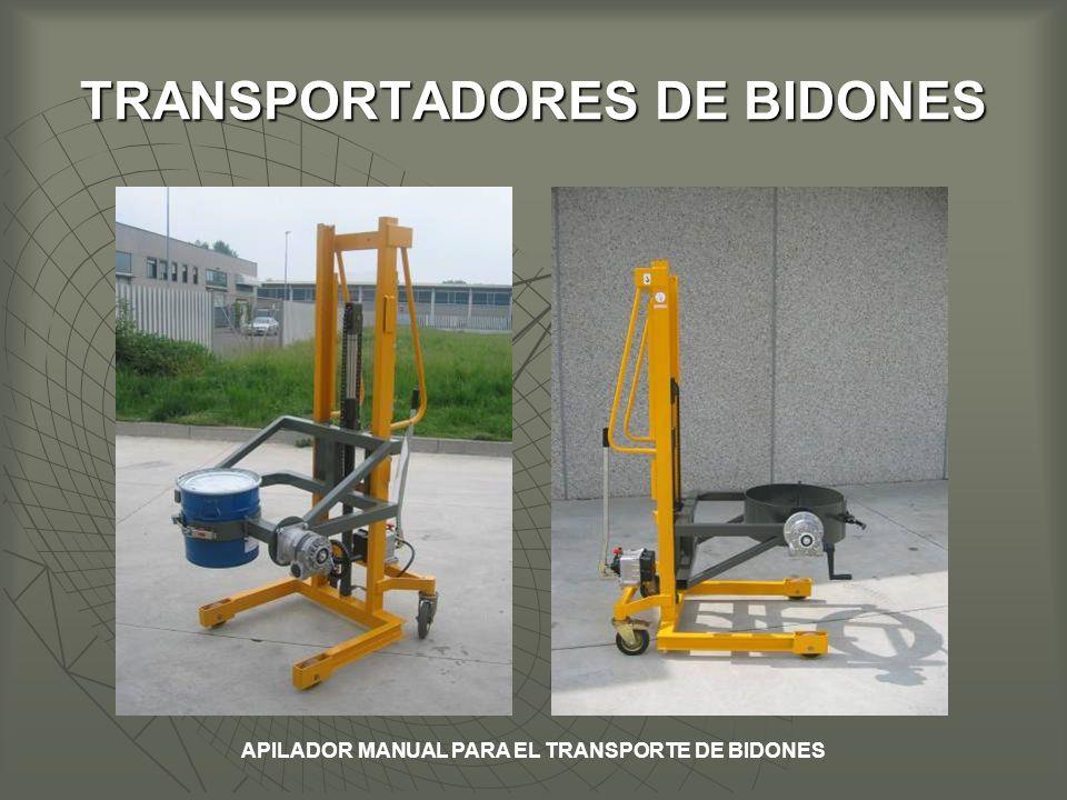 TRANSPORTADORES DE BIDONES APILADOR MANUAL PARA EL TRANSPORTE DE BIDONES