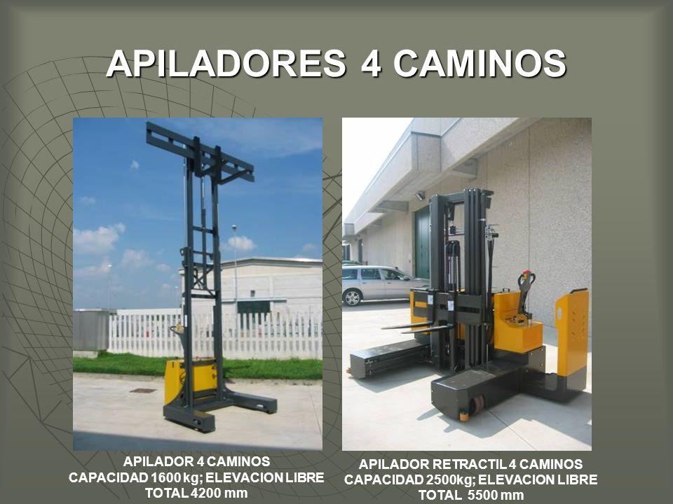 APILADORES 4 CAMINOS APILADOR RETRACTIL 4 CAMINOS CAPACIDAD 2500kg; ELEVACION LIBRE TOTAL 5500 mm APILADOR 4 CAMINOS CAPACIDAD 1600 kg; ELEVACION LIBRE TOTAL 4200 mm