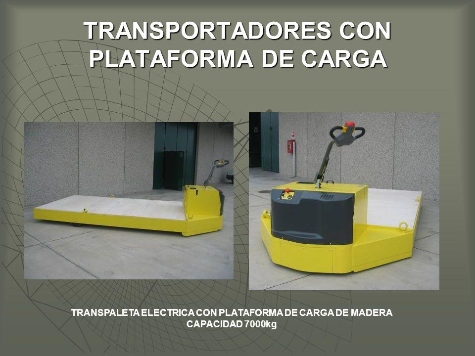 TRANSPORTADORES CON PLATAFORMA DE CARGA TRANSPALETA ELECTRICA CON PLATAFORMA DE CARGA DE MADERA CAPACIDAD 7000kg