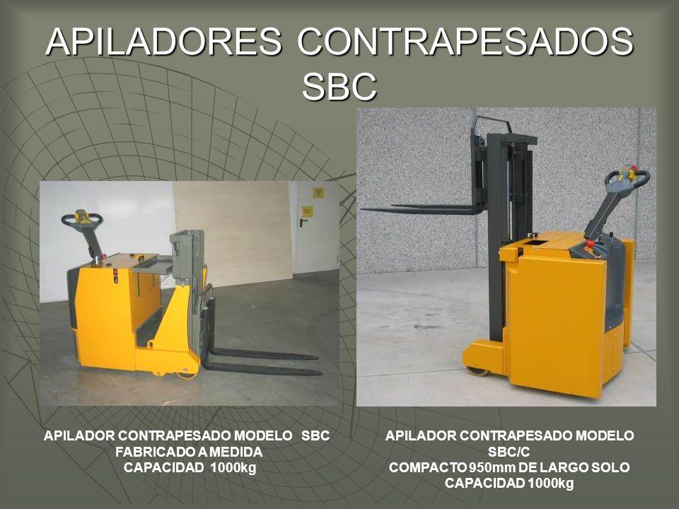 APILADORES CONTRAPESADOS SBC APILADOR CONTRAPESADO MODELO SBC FABRICADO A MEDIDA CAPACIDAD 1000kg APILADOR CONTRAPESADO MODELO SBC/C COMPACTO 950mm DE LARGO SOLO CAPACIDAD 1000kg