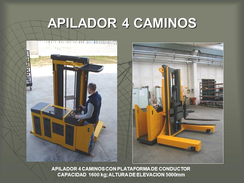 APILADOR 4 CAMINOS APILADOR 4 CAMINOS CON PLATAFORMA DE CONDUCTOR CAPACIDAD 1600 kg; ALTURA DE ELEVACION 5000mm