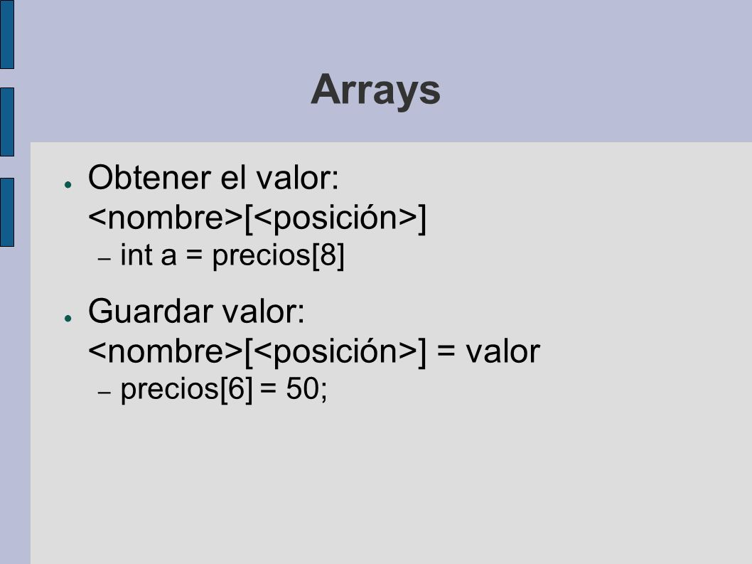 Arrays Si los elementos del array son tipos primitivos, se crean y se inicializan a 0 Si los elementos del array son tipos referencia (Clases e Interfaces), sólo se reserva espacio para los punteros Deberemos crear los objetos uno a uno para el array (con el operador new)