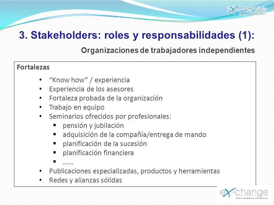 3. Stakeholders: roles y responsabilidades (1): Organizaciones de trabajadores independientes Fortalezas Know how / experiencia Experiencia de los ase