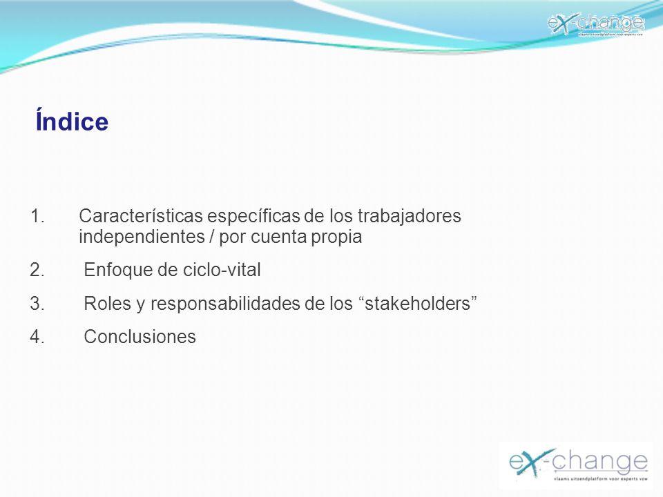 Índice 1.Características específicas de los trabajadores independientes / por cuenta propia 2. Enfoque de ciclo-vital 3. Roles y responsabilidades de