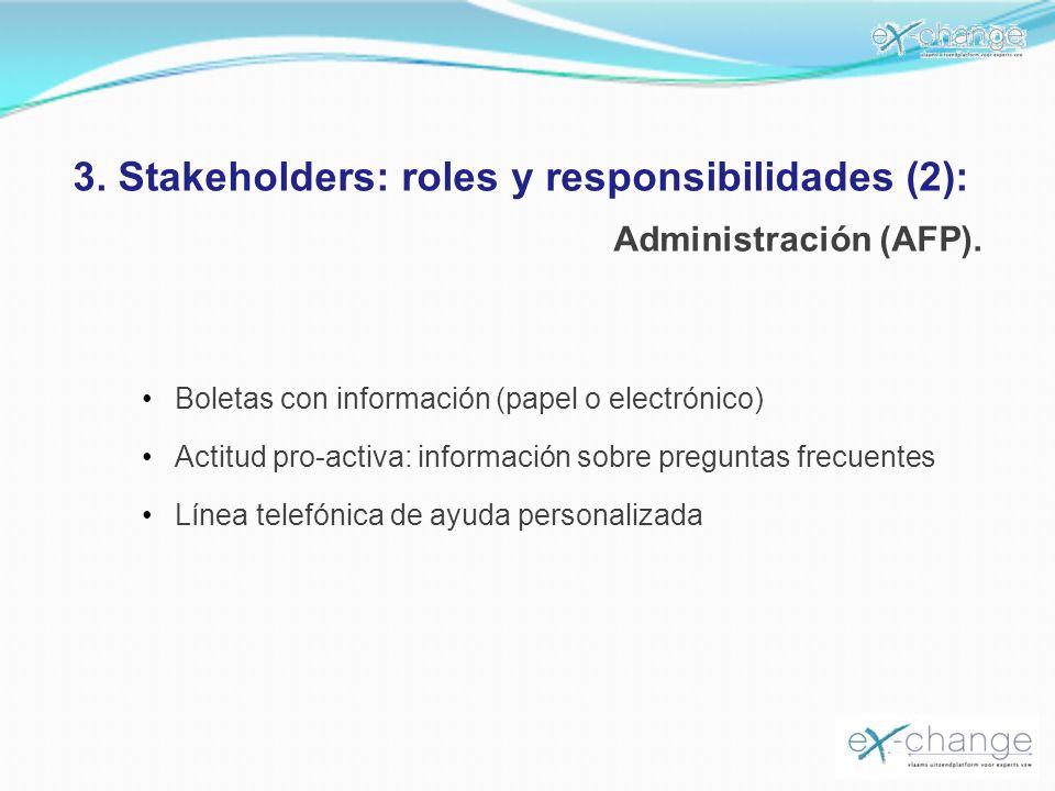3. Stakeholders: roles y responsibilidades (2): Administración (AFP). Boletas con información (papel o electrónico) Actitud pro-activa: información so