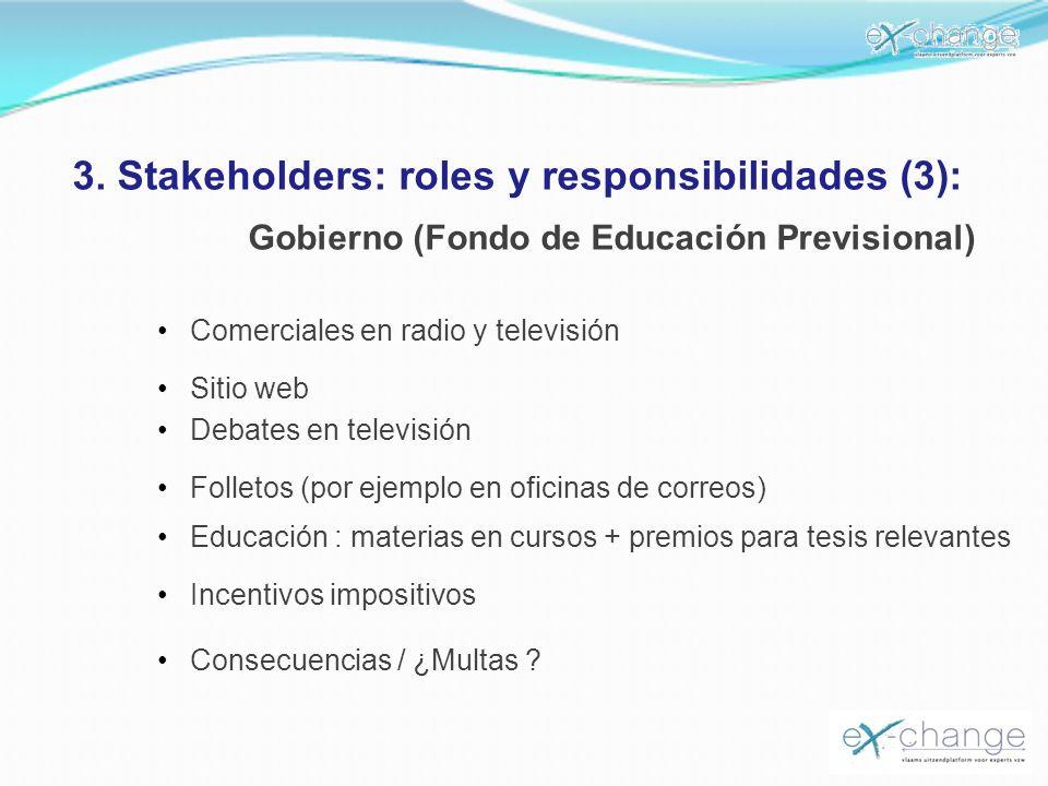 3. Stakeholders: roles y responsibilidades (3): Gobierno (Fondo de Educación Previsional) Consecuencias / ¿Multas ? Comerciales en radio y televisión