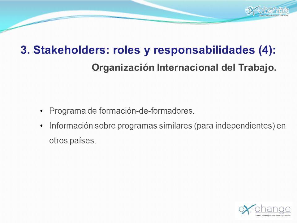 3. Stakeholders: roles y responsabilidades (4): Organización Internacional del Trabajo. Programa de formación-de-formadores. Información sobre program