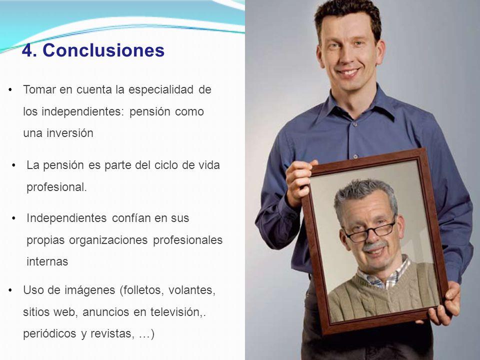 4. Conclusiones Independientes confían en sus propias organizaciones profesionales internas La pensión es parte del ciclo de vida profesional. Tomar e