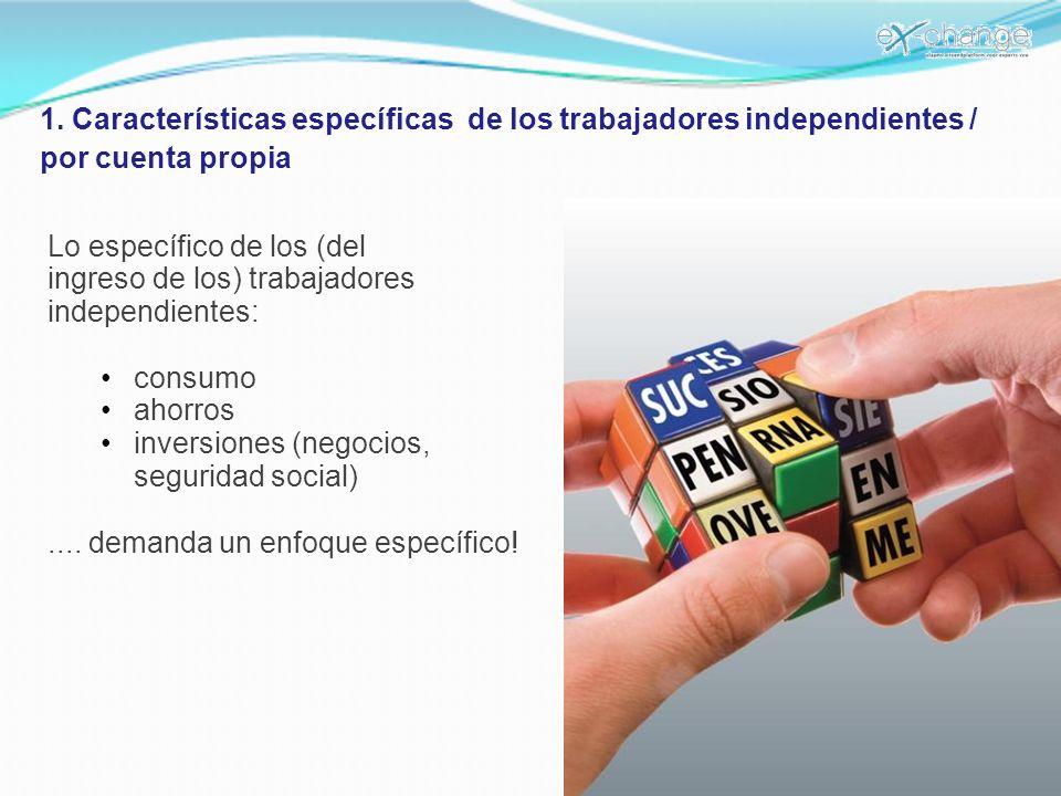 1. Características específicas de los trabajadores independientes / por cuenta propia Lo específico de los (del ingreso de los) trabajadores independi