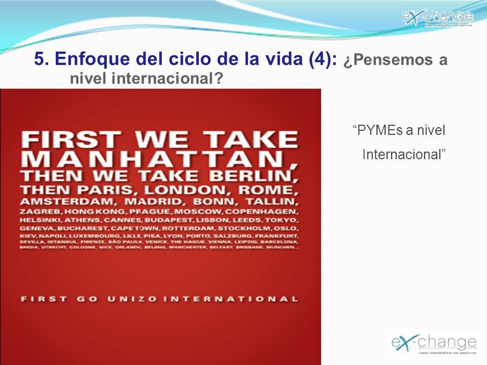5. Enfoque del ciclo de la vida (4): ¿Pensemos a nivel internacional? PYMEs a nivel Internacional