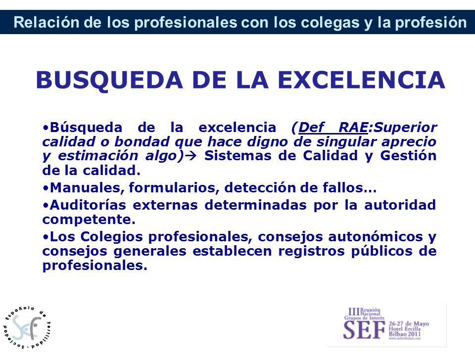 Relación de los profesionales con los colegas y la profesión Búsqueda de la excelencia (Def RAE:Superior calidad o bondad que hace digno de singular a