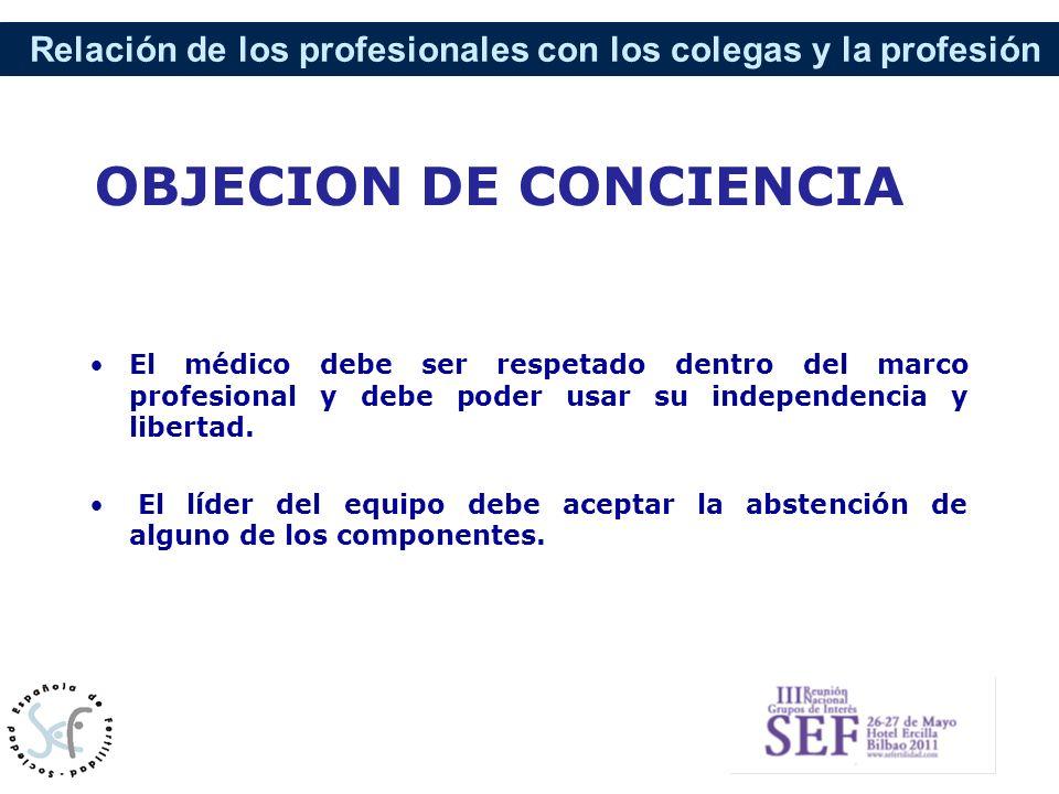 Relación de los profesionales con los colegas y la profesión OBJECION DE CONCIENCIA El médico debe ser respetado dentro del marco profesional y debe p