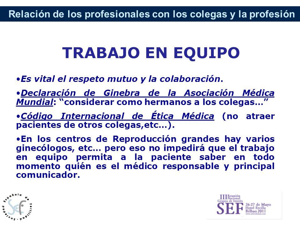 Relación de los profesionales con los colegas y la profesión Es vital el respeto mutuo y la colaboración. Declaración de Ginebra de la Asociación Médi