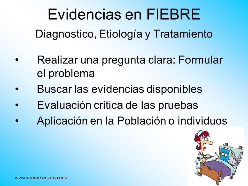 Evidencias en FIEBRE Diagnostico, Etiología y Tratamiento Realizar una pregunta clara: Formular el problema Buscar las evidencias disponibles Evaluaci