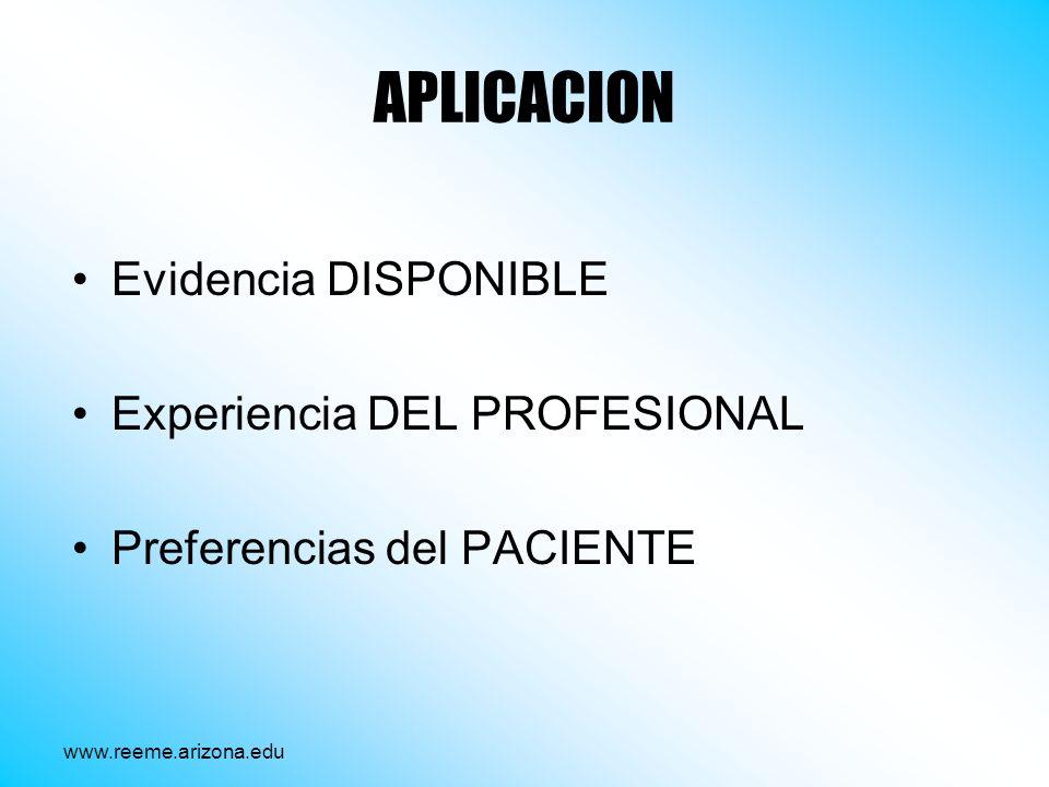 APLICACION Evidencia DISPONIBLE Experiencia DEL PROFESIONAL Preferencias del PACIENTE www.reeme.arizona.edu