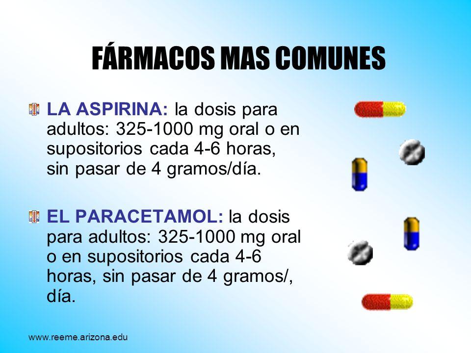 FÁRMACOS MAS COMUNES LA ASPIRINA: la dosis para adultos: 325-1000 mg oral o en supositorios cada 4-6 horas, sin pasar de 4 gramos/día. EL PARACETAMOL: