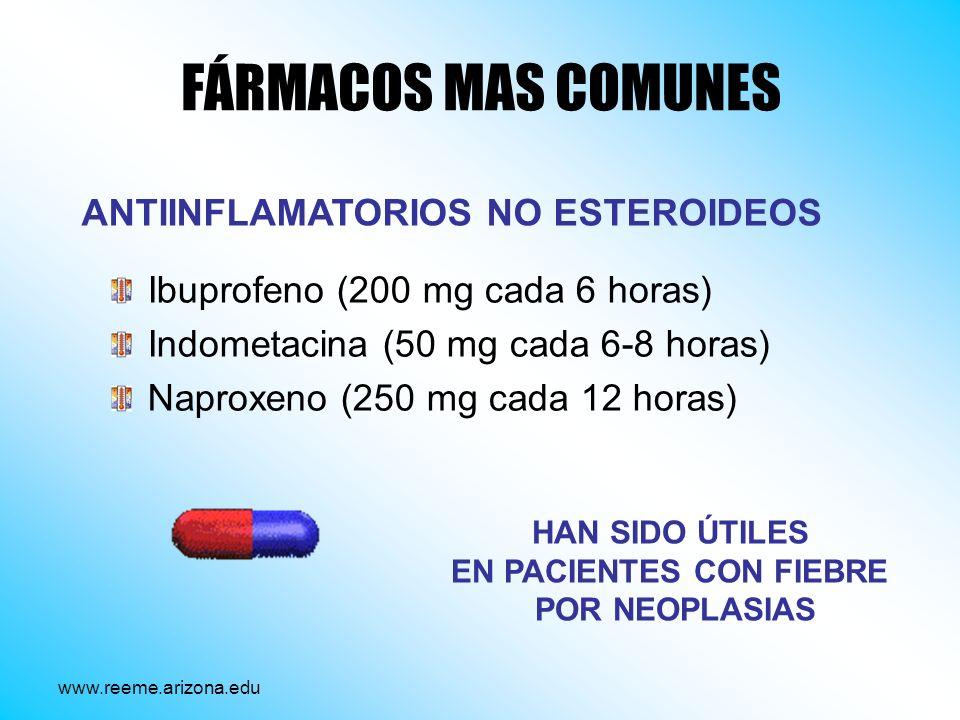 FÁRMACOS MAS COMUNES Ibuprofeno (200 mg cada 6 horas) Indometacina (50 mg cada 6-8 horas) Naproxeno (250 mg cada 12 horas) ANTIINFLAMATORIOS NO ESTERO