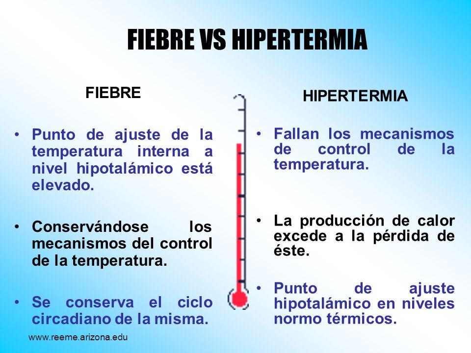 FIEBRE Punto de ajuste de la temperatura interna a nivel hipotalámico está elevado. Conservándose los mecanismos del control de la temperatura. Se con
