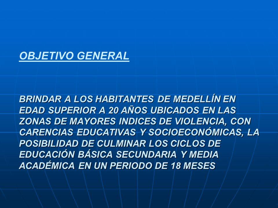 BRINDAR A LOS HABITANTES DE MEDELLÍN EN EDAD SUPERIOR A 20 AÑOS UBICADOS EN LAS ZONAS DE MAYORES INDICES DE VIOLENCIA, CON CARENCIAS EDUCATIVAS Y SOCIOECONÓMICAS, LA POSIBILIDAD DE CULMINAR LOS CICLOS DE EDUCACIÓN BÁSICA SECUNDARIA Y MEDIA ACADÉMICA EN UN PERIODO DE 18 MESES OBJETIVO GENERAL BRINDAR A LOS HABITANTES DE MEDELLÍN EN EDAD SUPERIOR A 20 AÑOS UBICADOS EN LAS ZONAS DE MAYORES INDICES DE VIOLENCIA, CON CARENCIAS EDUCATIVAS Y SOCIOECONÓMICAS, LA POSIBILIDAD DE CULMINAR LOS CICLOS DE EDUCACIÓN BÁSICA SECUNDARIA Y MEDIA ACADÉMICA EN UN PERIODO DE 18 MESES
