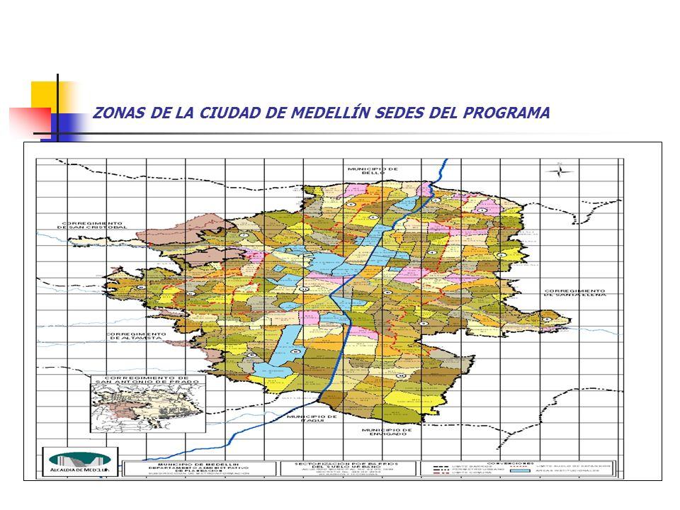 ZONAS DE LA CIUDAD DE MEDELLÍN SEDES DEL PROGRAMA :
