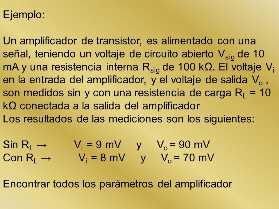 Ejemplo: Un amplificador de transistor, es alimentado con una señal, teniendo un voltaje de circuito abierto V sig de 10 mA y una resistencia interna