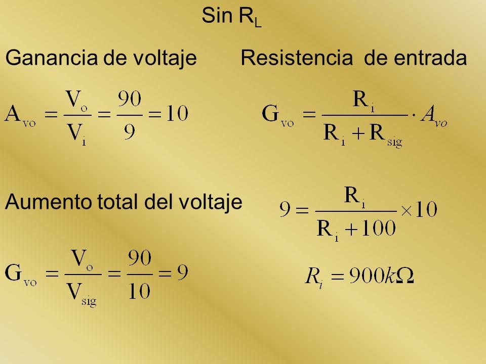 Ganancia de voltaje Aumento total del voltaje Resistencia de entrada Sin R L