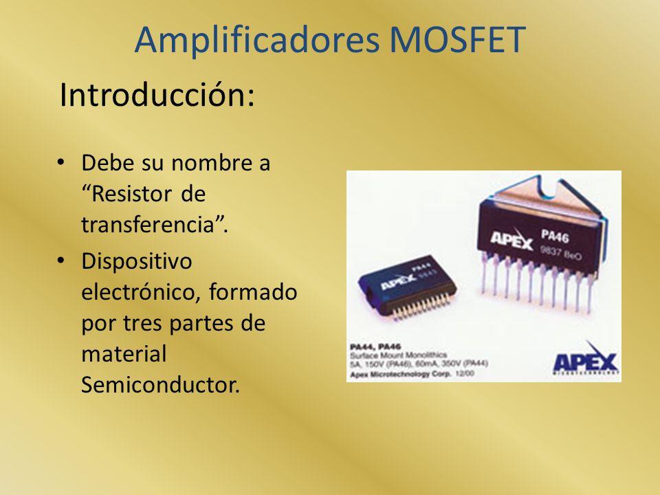 Introducción: Debe su nombre a Resistor de transferencia. Dispositivo electrónico, formado por tres partes de material Semiconductor. Amplificadores M