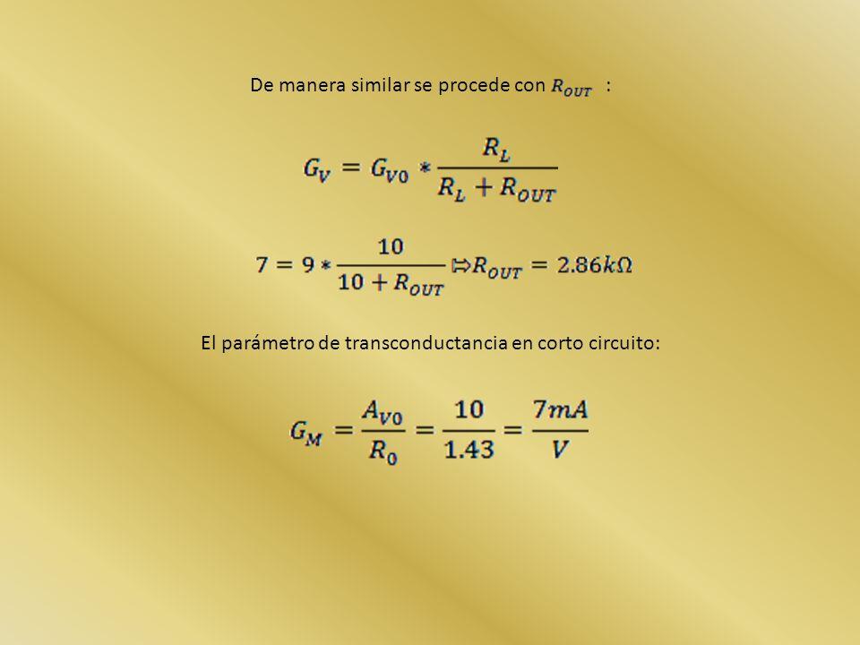 De manera similar se procede con : El parámetro de transconductancia en corto circuito: