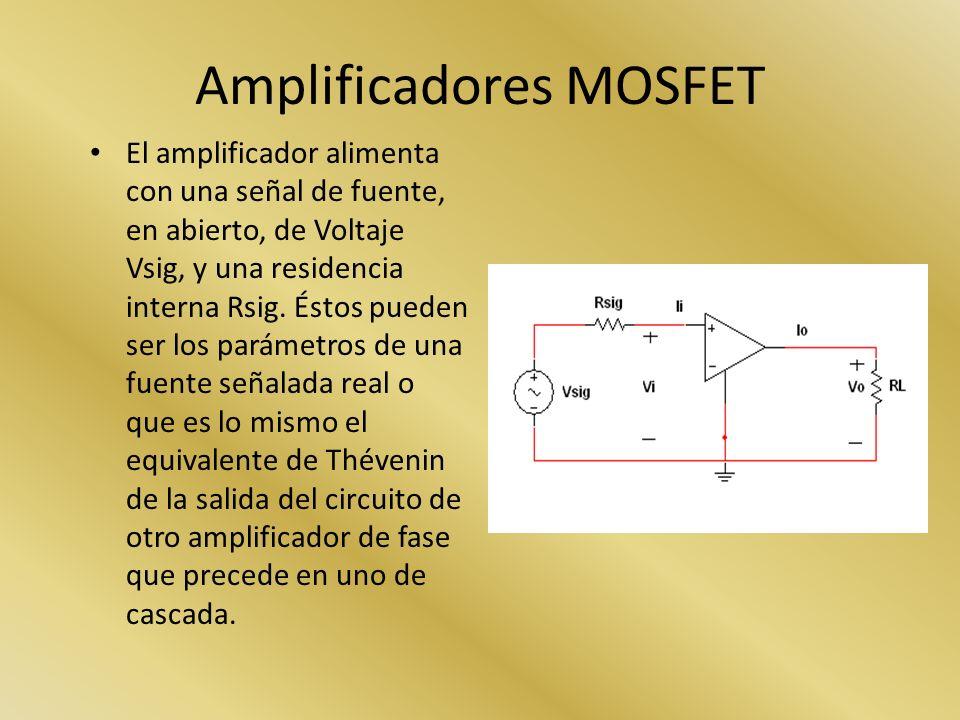 Amplificadores MOSFET El amplificador alimenta con una señal de fuente, en abierto, de Voltaje Vsig, y una residencia interna Rsig. Éstos pueden ser l