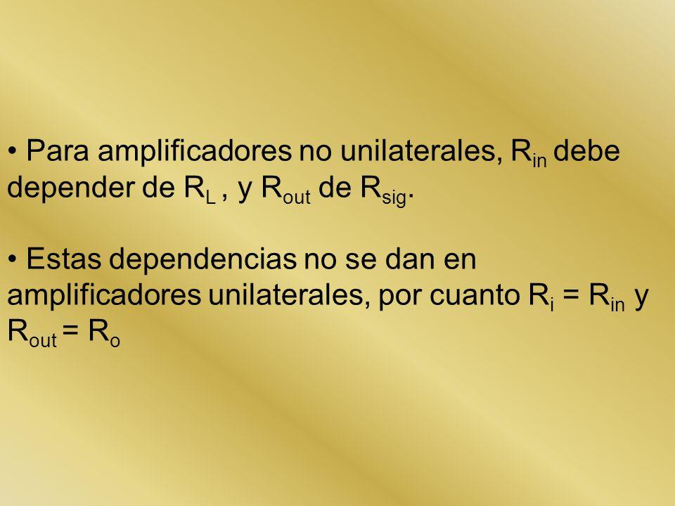 Para amplificadores no unilaterales, R in debe depender de R L, y R out de R sig. Estas dependencias no se dan en amplificadores unilaterales, por cua