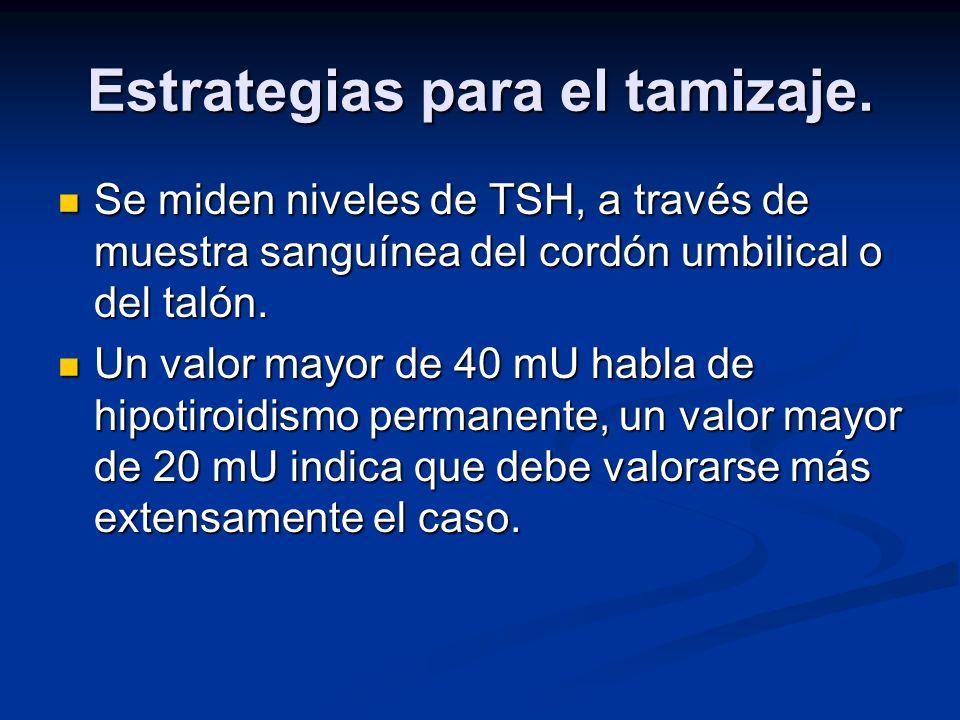 Estrategias para el tamizaje. Se miden niveles de TSH, a través de muestra sanguínea del cordón umbilical o del talón. Se miden niveles de TSH, a trav