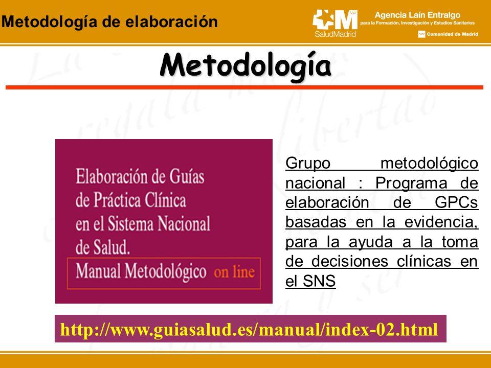 http://www.guiasalud.es/manual/index-02.html Metodología Grupo metodológico nacional : Programa de elaboración de GPCs basadas en la evidencia, para l
