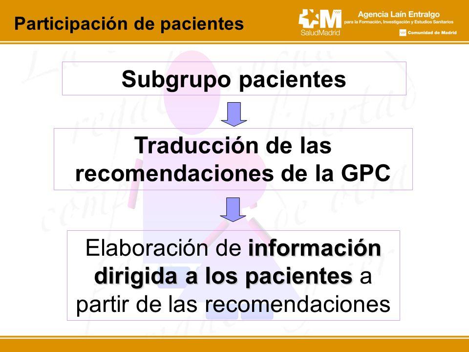 Subgrupo pacientes Participación de pacientes información dirigida a los pacientes Elaboración de información dirigida a los pacientes a partir de las