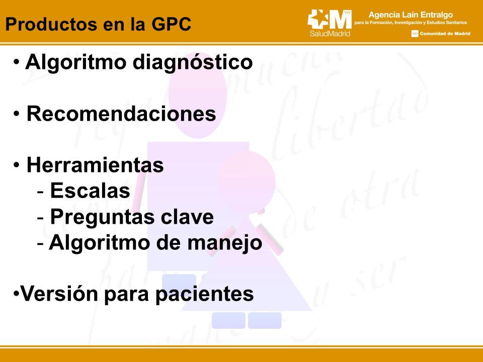 Productos en la GPC Algoritmo diagnóstico Recomendaciones Herramientas - Escalas - Preguntas clave - Algoritmo de manejo Versión para pacientes