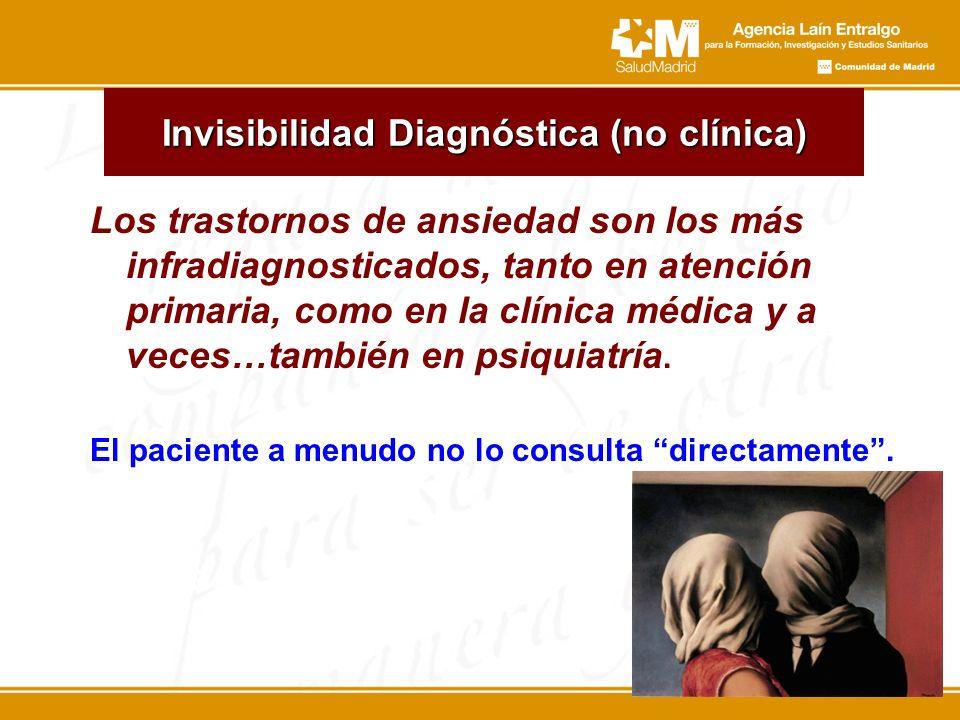 Invisibilidad Diagnóstica (no clínica) Los trastornos de ansiedad son los más infradiagnosticados, tanto en atención primaria, como en la clínica médi