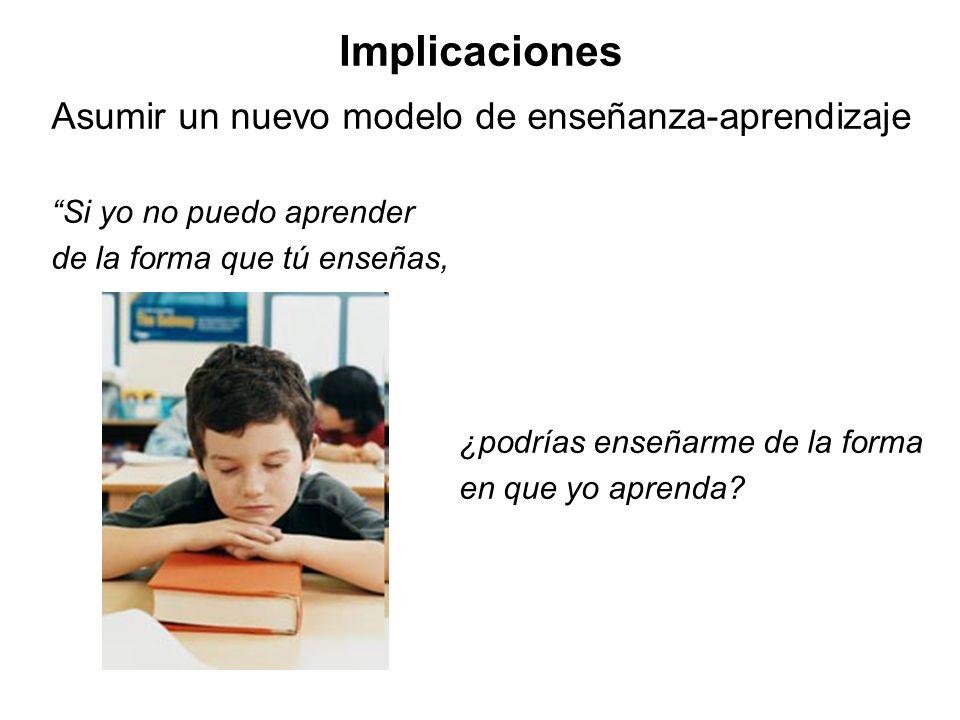 Implicaciones Asumir un nuevo modelo de enseñanza-aprendizaje Si yo no puedo aprender de la forma que tú enseñas, ¿podrías enseñarme de la forma en qu