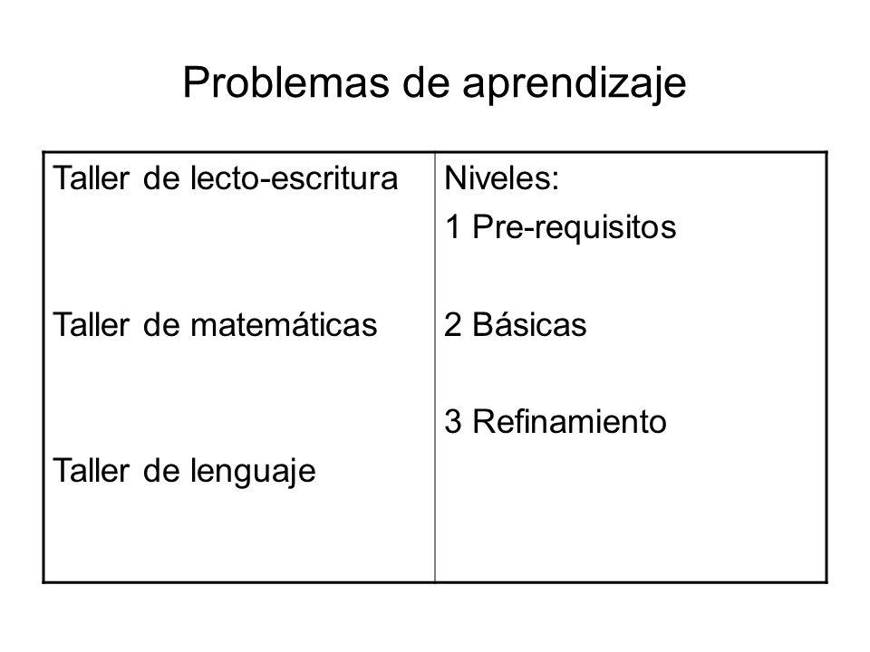 Problemas de aprendizaje Taller de lecto-escritura Taller de matemáticas Taller de lenguaje Niveles: 1 Pre-requisitos 2 Básicas 3 Refinamiento