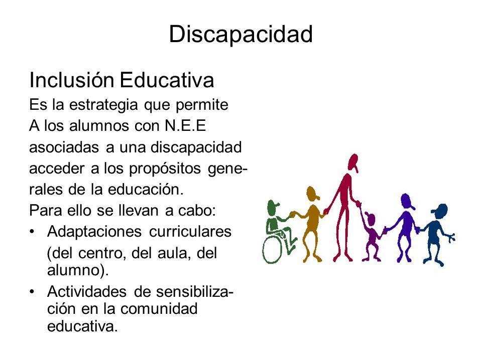 Discapacidad Inclusión Educativa Es la estrategia que permite A los alumnos con N.E.E asociadas a una discapacidad acceder a los propósitos gene- rale
