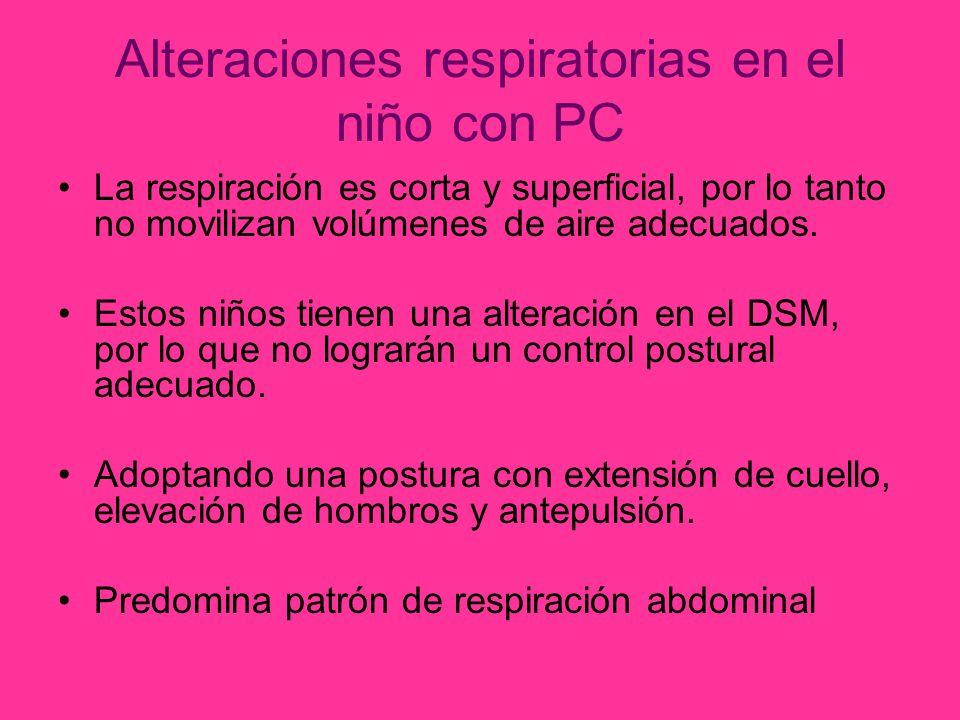 Alteraciones respiratorias en el niño con PC La respiración es corta y superficial, por lo tanto no movilizan volúmenes de aire adecuados.