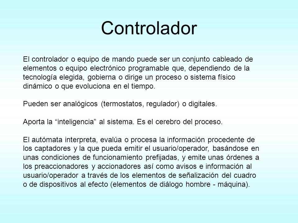 Controlador El controlador o equipo de mando puede ser un conjunto cableado de elementos o equipo electrónico programable que, dependiendo de la tecno