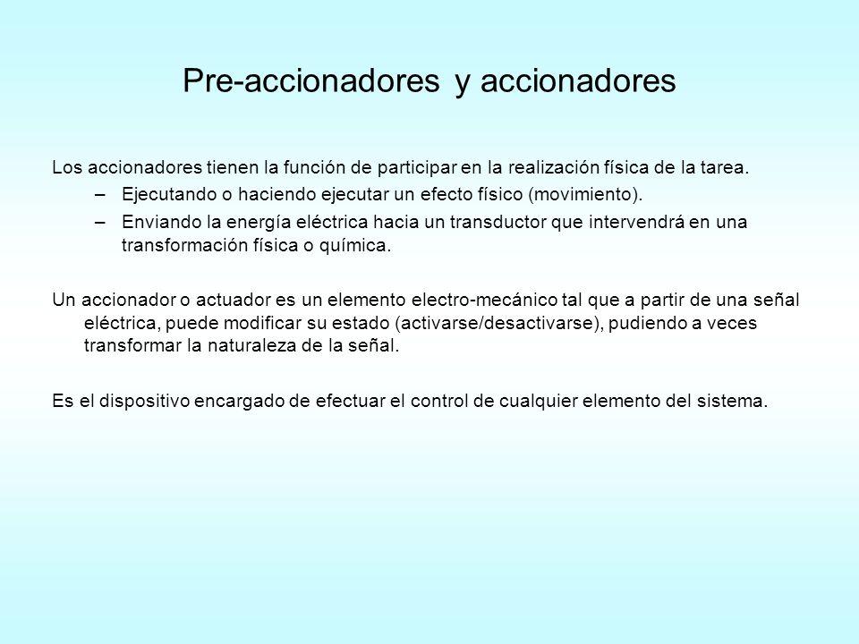 Pre-accionadores y accionadores Los accionadores tienen la función de participar en la realización física de la tarea. –Ejecutando o haciendo ejecutar