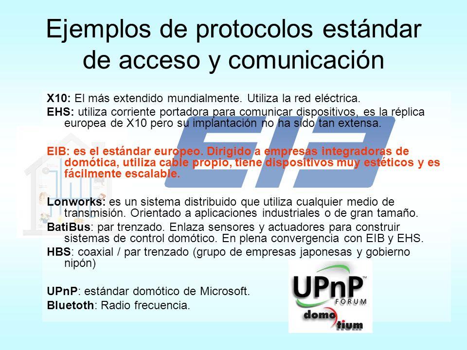 Ejemplos de protocolos estándar de acceso y comunicación X10: El más extendido mundialmente. Utiliza la red eléctrica. EHS: utiliza corriente portador