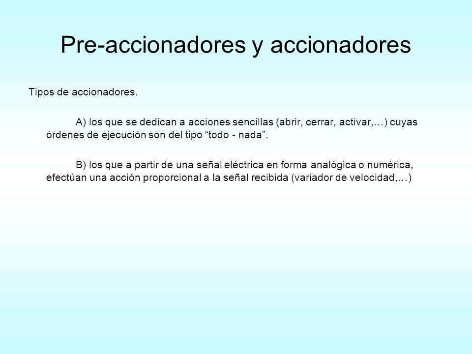 Pre-accionadores y accionadores Tipos de accionadores. A) los que se dedican a acciones sencillas (abrir, cerrar, activar,…) cuyas órdenes de ejecució