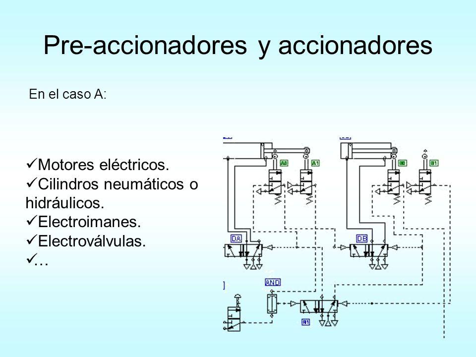 Pre-accionadores y accionadores En el caso A: Motores eléctricos. Cilindros neumáticos o hidráulicos. Electroimanes. Electroválvulas. …
