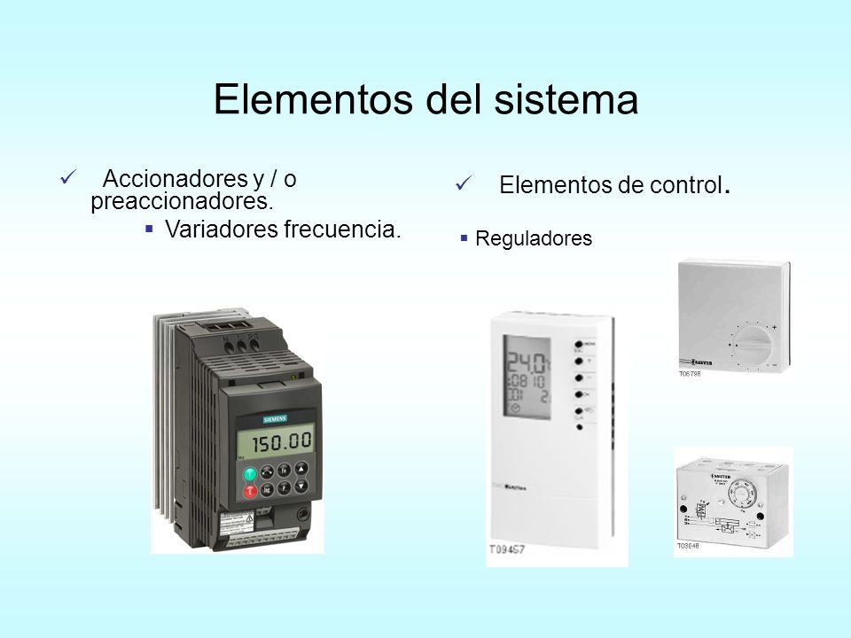 Elementos del sistema Elementos de control. Reguladores Accionadores y / o preaccionadores. Variadores frecuencia.